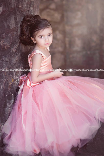divine peach exquisite tulle skirt flower girl dress