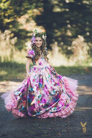 Back Bustle Floral Couture Girls Dress - MelissaJane Designs