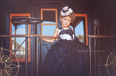 Black Lace Flower Girl Dress
