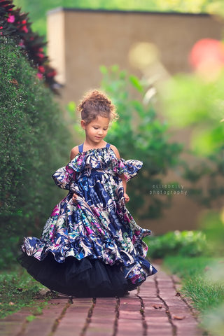 floral pattern girls dress navy blue boho