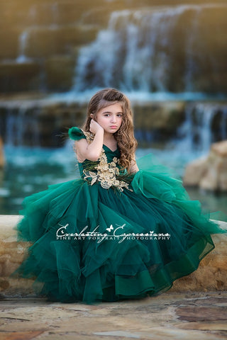 emerald green girls dress