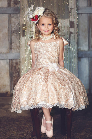 Ballerina Vintage Doll - Girls Lace Dress - MelissaJane Designs