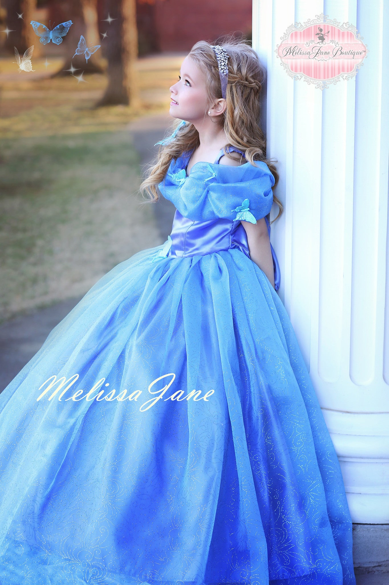 6a0441bca6f Inspired Cinderella Blue Movie Princess Dress - with a touch of Feathers.  Girls Feather Cinderella Dress · Ostrich Dress