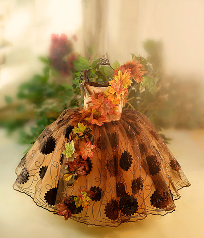 Autumn Leaf Girls Fall Couture Dress - MelissaJane Designs