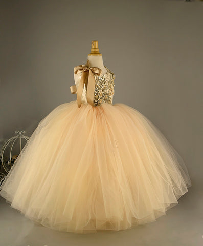 Champagne tulle girls Dress