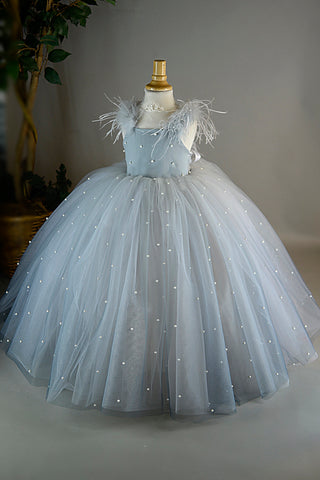 Ombre Grey Pearl Exquisite Girls Dress