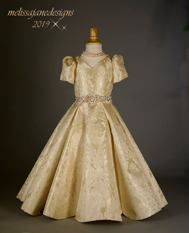 champagne and gold girls couture gown princess dress