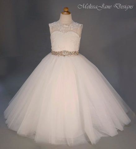 girls ivory communion dress