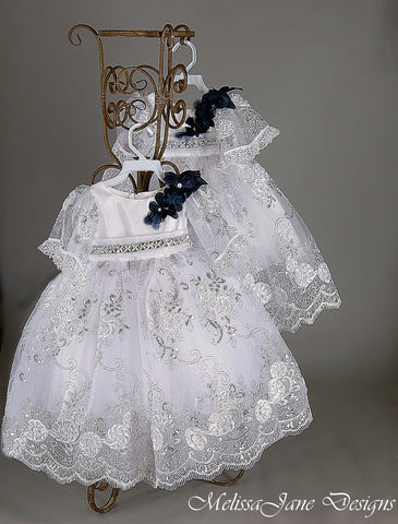 white sequin communion baby dress