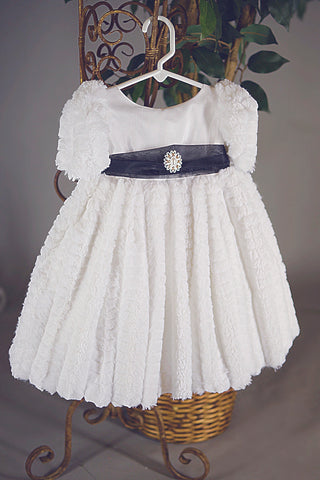 Faux Fur White baby dress