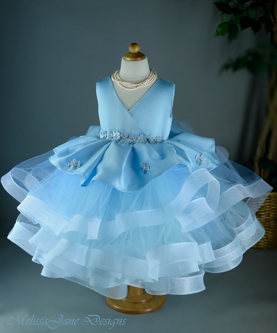 Light BLue Girls Couture Dress