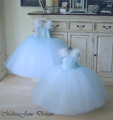 Blue silk dupioni flower girl dress