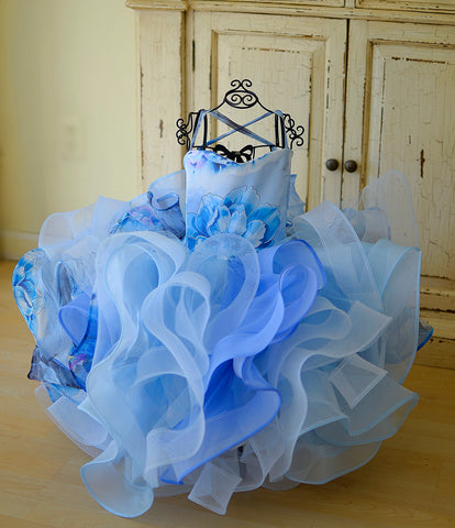 soft blue girls couture dress