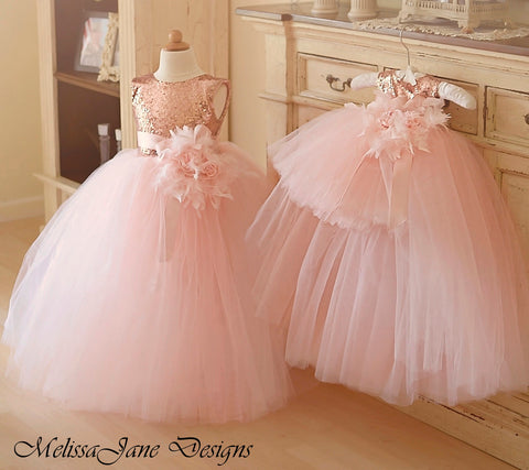 blush flower girl dress