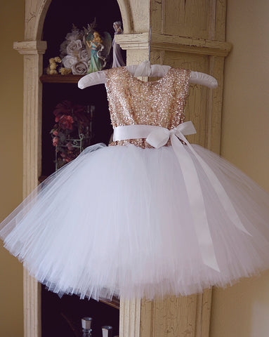 champagne and white tutu girls dress