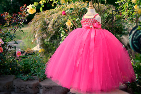 fuchsia flower girl dress tulle