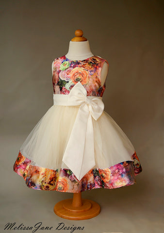 floral girls tulle dress