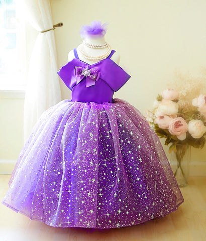 purple lights girls dress