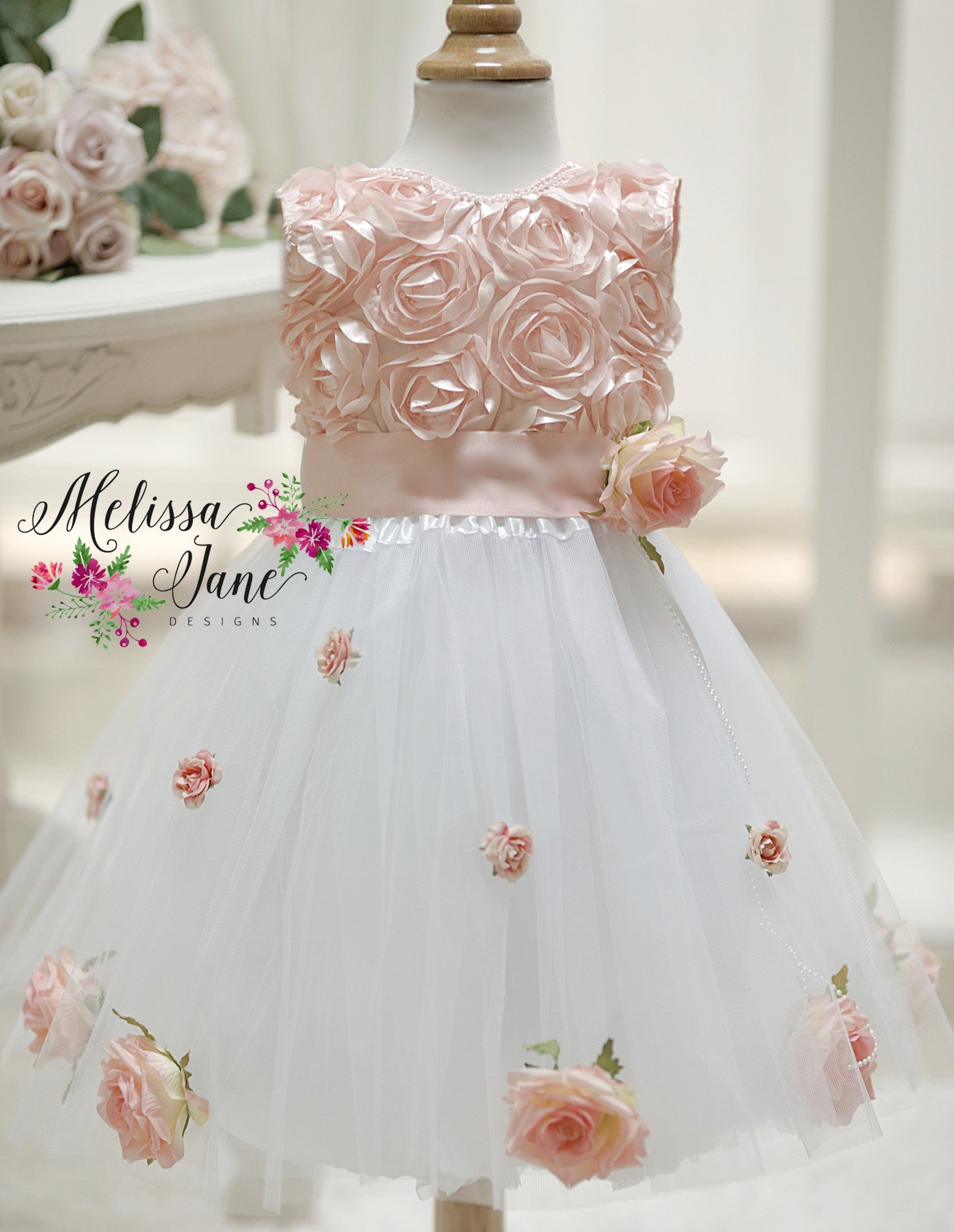 Peachy Pink Oh So Sweet Flower Baby Girl Dress Melissajanedesigns