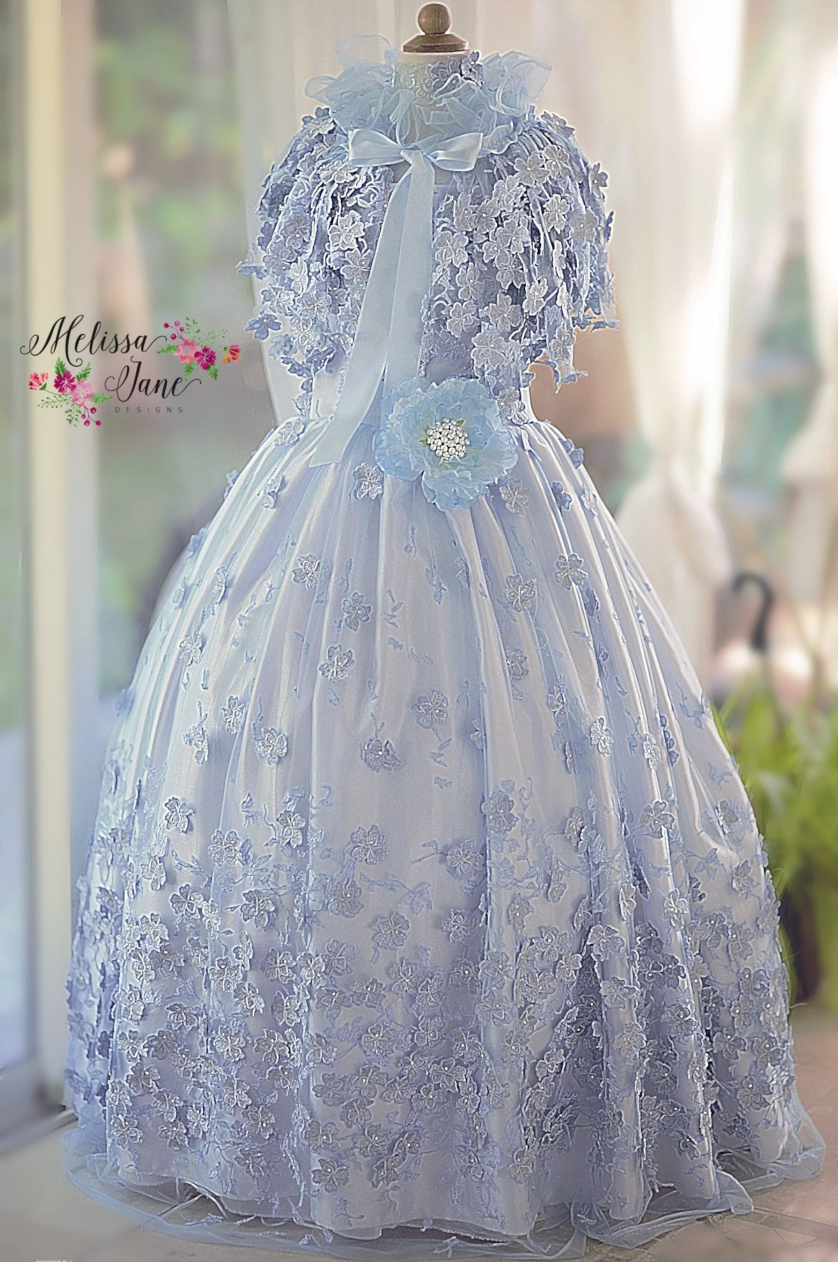 Exquisite One of a Kind Floral Girls Dress and removable Cape ...