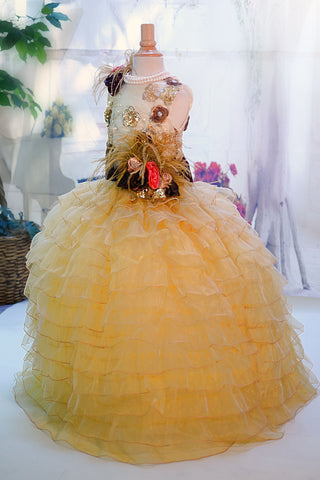 Autumn Ruffled Vintage Girls Dress -  Ready to ship one size only - MelissaJane Designs