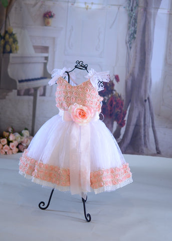 Sweet Little Rosette Girls Dress - Ready to Ship