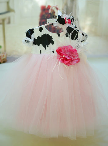 cow print girls dress
