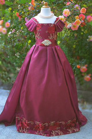 Burgundy Girls Couture Dress