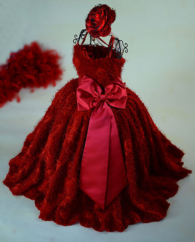Style - Girls Diamond Plush Minky Red Rosette Dress