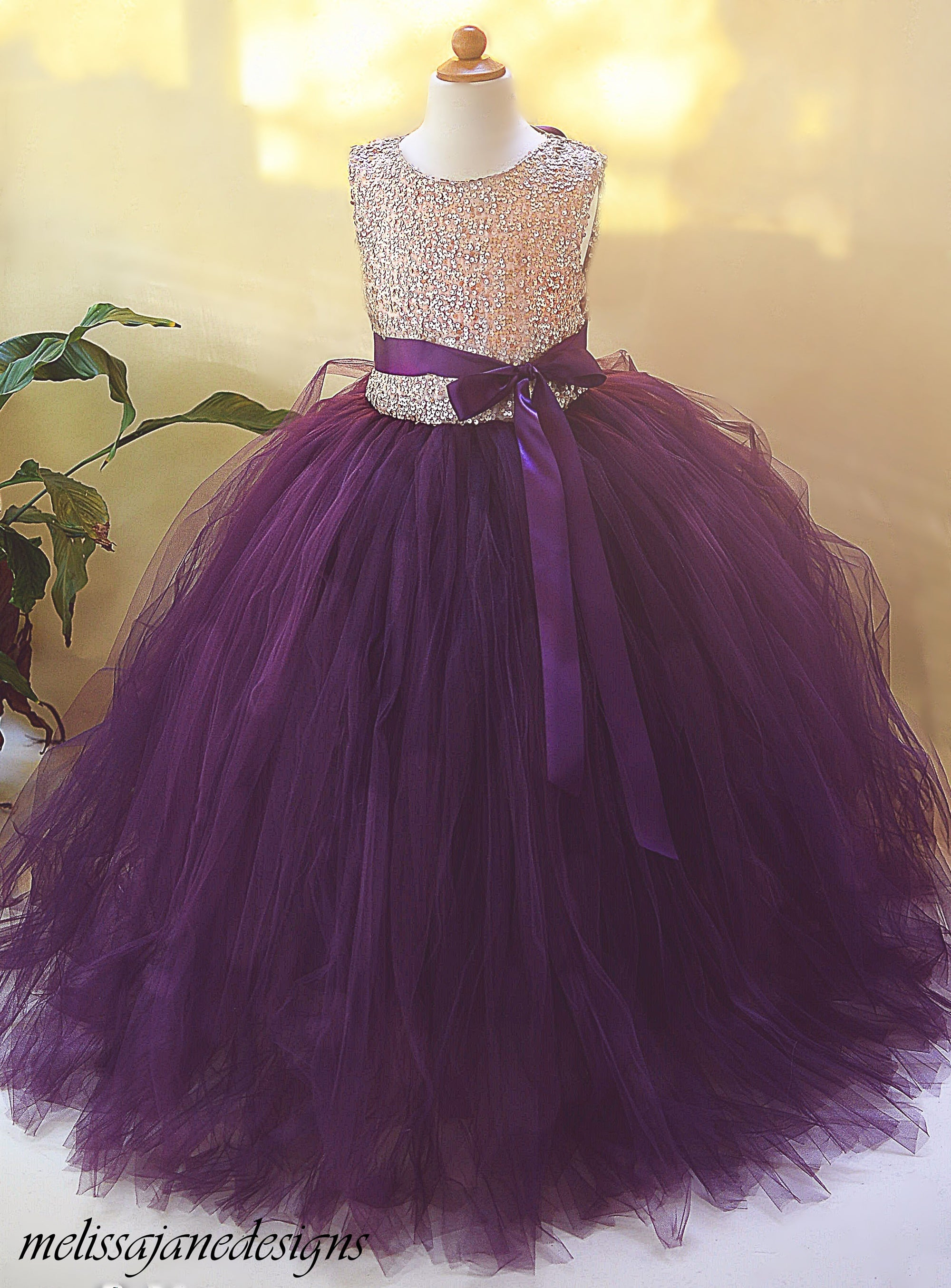 fe0d1acaae4 Gold and Plum eggplant Sequin Flower Girl Dress. gold and plum tulle girls  dress ...