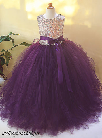 New!!  Gold and Plum/eggplant Sequin Flower Girl Dress