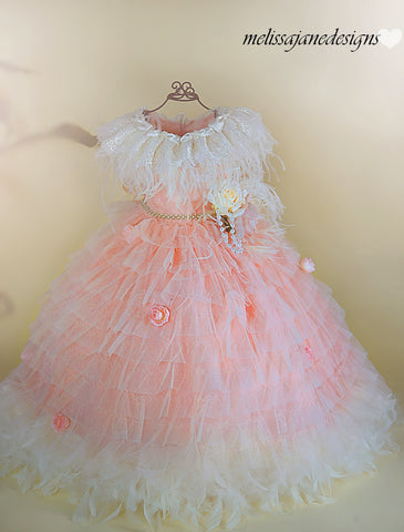 peach girls infant toddler dress feather