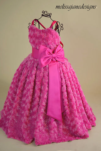 fushia rosebud cuddle fabric girls dress
