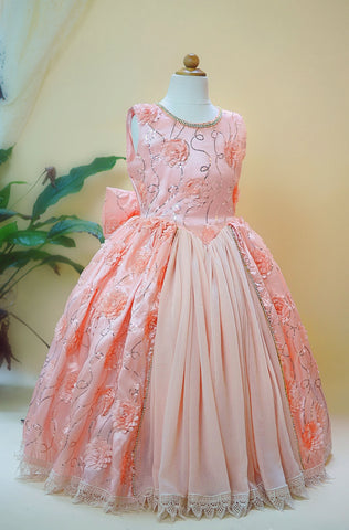 Blush Peach Pink Girls Couture Dress