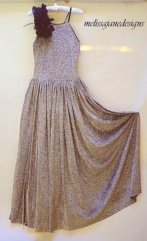 Gold Slinky Girls Long Couture Dress