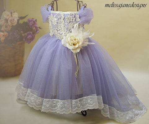 Lavender Mist Girls Couture Dress with Trail