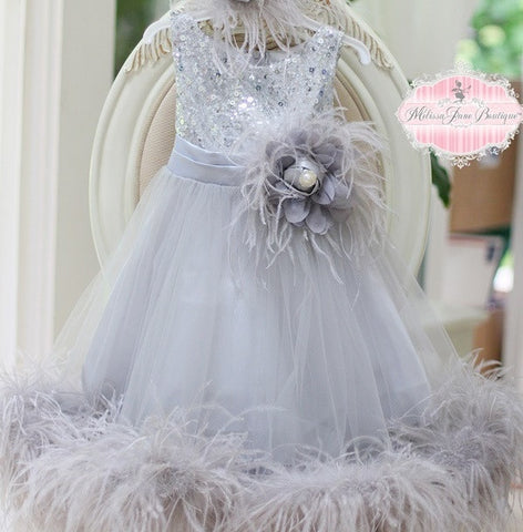 Ostrich Flower Girl Dress
