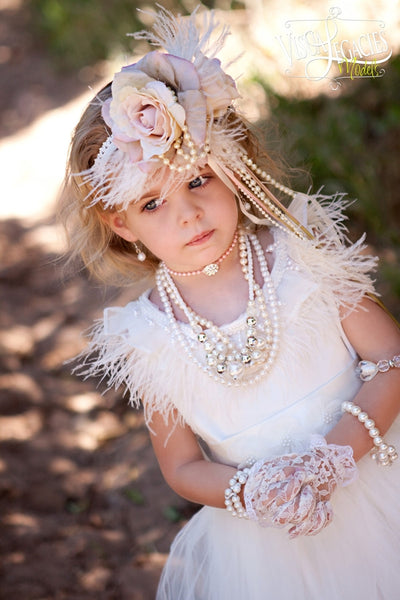 Heavenly Ostrich Feather Flower Girl Dress