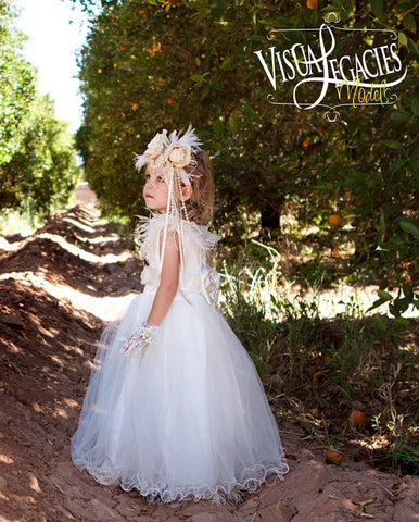 White Flower Girl Dress with Ostrich feathers