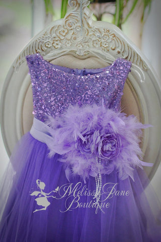 Ostrich Dress, Flower Girl Dress, Girls, Feather Dress, Lavender
