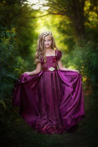 Deep Rich Burgundy Red Girls Long Couture Dress