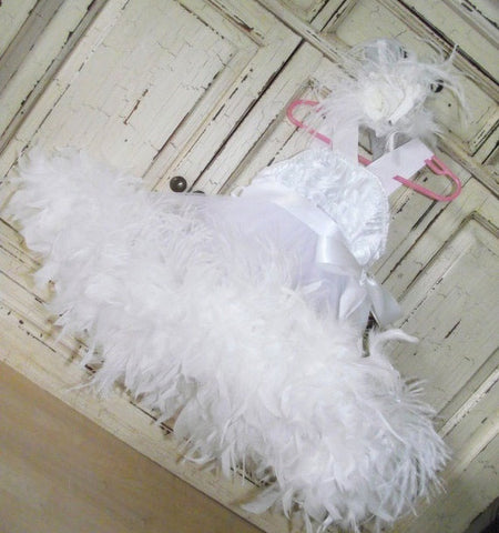 White Rosette Feather Dress Girls
