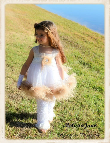Ostrich Feather Girls Dress