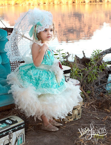 Aqua Mint Girls Rosette Feather Dress