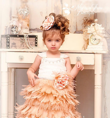 Girls Blush Feather Apron Dress