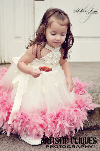 Classic Fluffy Feather Rosette Dress Melissajanedesigns