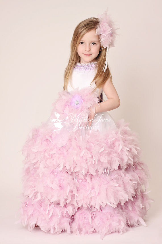 0869549c707 Couture Lavender Devine Feather Flower Girl Dress. Three Layers Girls  Feather Dress ...
