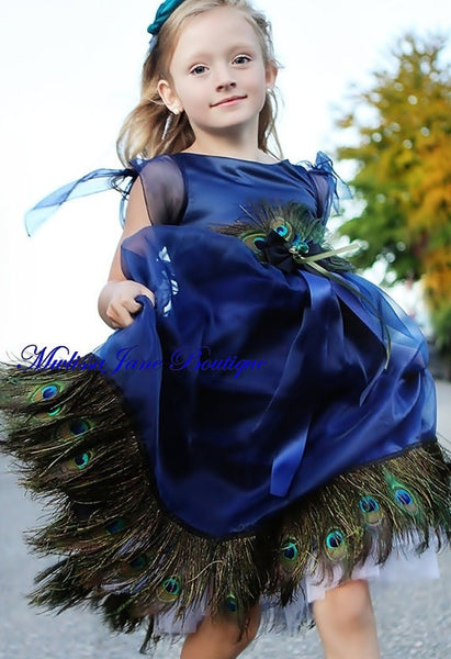 girls peacock dress in blue melissajanedesigns quality