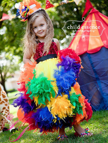 Mardi Grass Girls Feather Dress