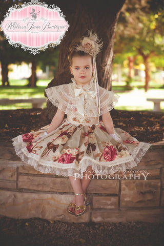 Autumn Flowers Girls Princess Dress - MelissaJane Designs